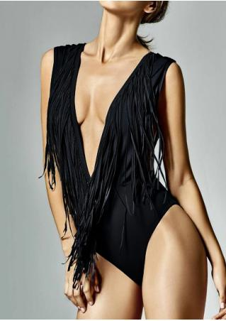 Solid Tassel Swimsuit Solid