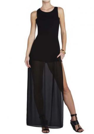 Splicing Side Slit Maxi Dress