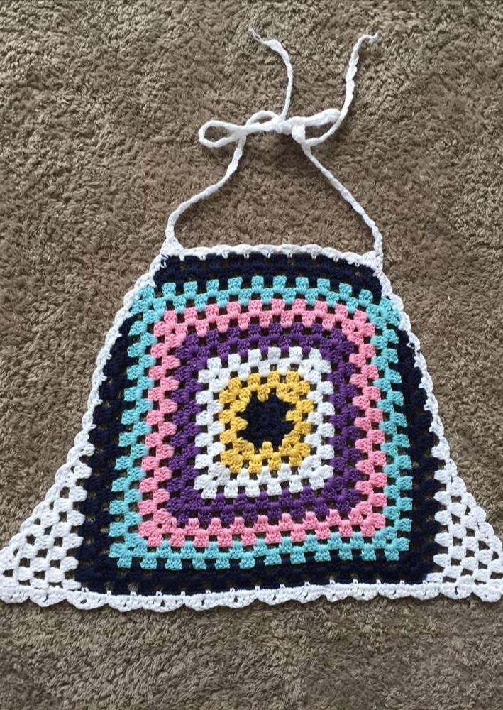 Image of Color Block Tassel Knitted Crop Top