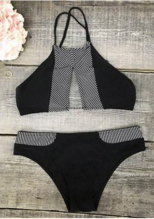 Striped Splicing Bikini Set Striped