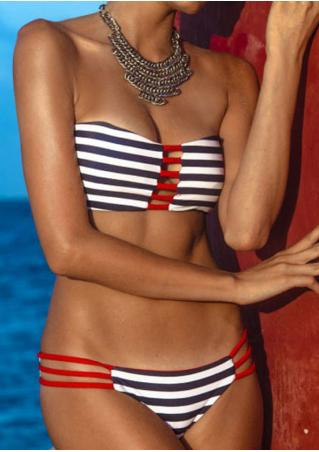 Striped Strappy Bikini Set Striped