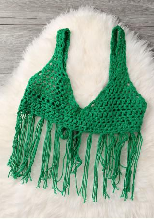 Solid Knitted Tassel Cover Up