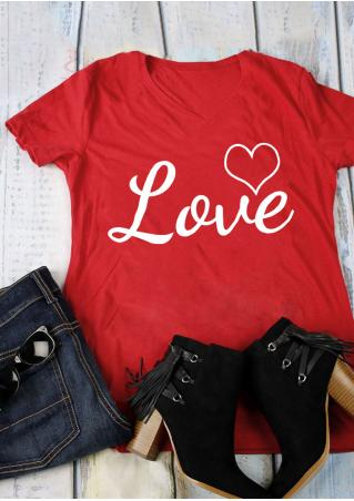 Love Heart V-Neck T-Shirt