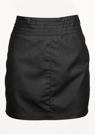 PETITE Solid Zipper Skirt