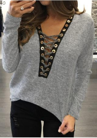 Lace Up Batwing Sleeve Blouse