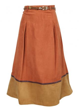 PETITE Color Block Skirt without Belt