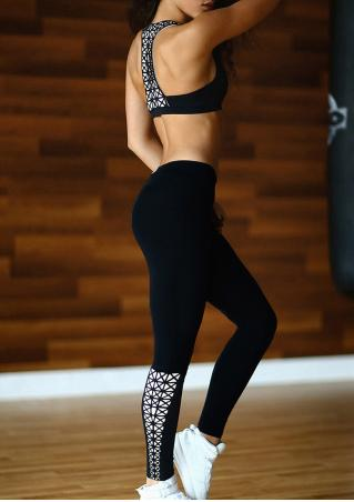 Geometric Sport Crop Top and Pants Set
