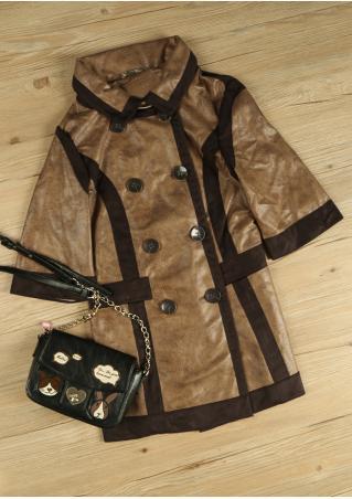 PETITE Button Color Block Coat