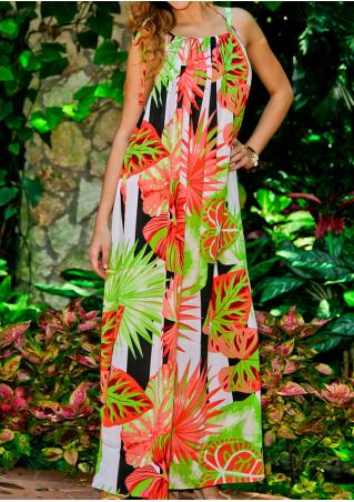 Leaves Sleeveless Maxi Dress