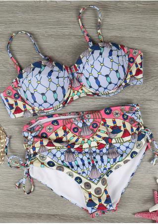 Printed Lace Up Bikini Set Printed
