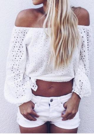 Solid Hollow Out Slash Neck Crop Top
