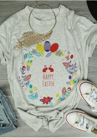 Happy Easter Multicolor Casual T-Shirt