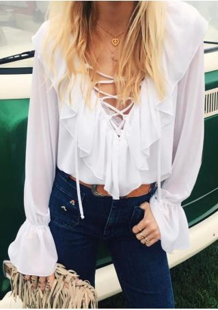 Lace Up Flouncing Blouse without Necklace