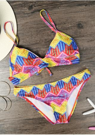 Multicolor Geometric Chic Bikini Set Multicolor