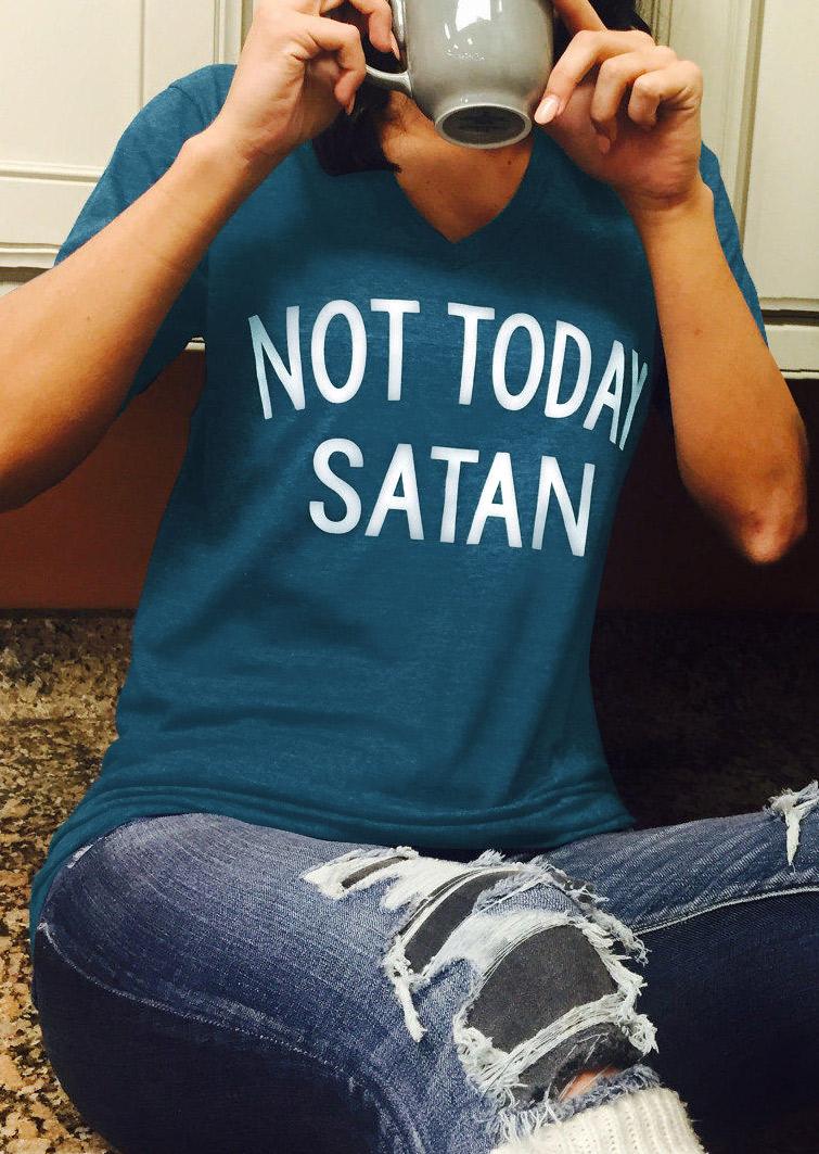 Tees T-shirts Not Today Satan T-Shirt in Blue. Size: S,M,L,XL,2XL,3XL фото