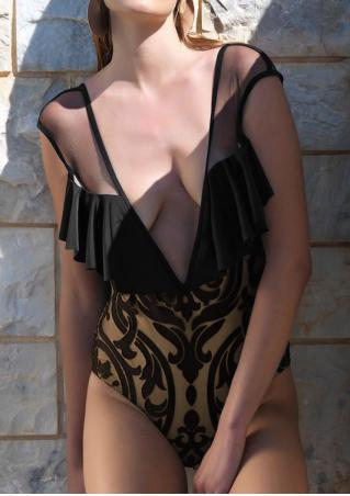 Mesh Splicing Ruffled Swimsuit