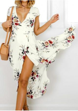 Floral Wrap and Cross Maxi Dress