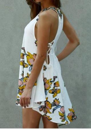 Floral Asymmetric Mini Dress