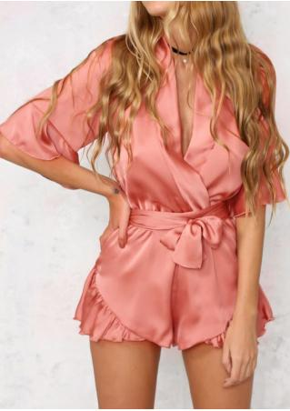 Solid Wrap Romper without Necklace