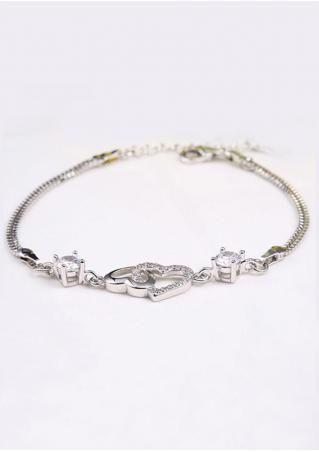 Crystal Heart Metal Chain Bracelet