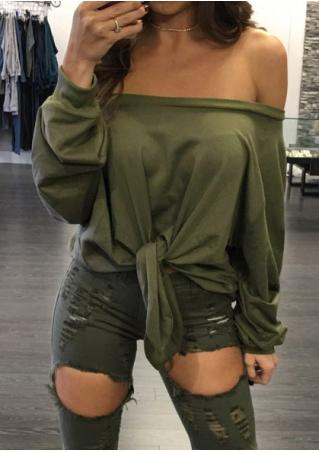 Solid Slash Neck Knot Blouse without Necklace
