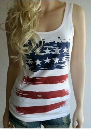 American Flag Printed Tank American