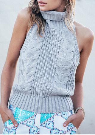 Open Back Sleeveless Sweater