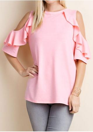 Solid Cold Shoulder Layered Blouse