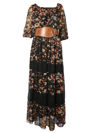 PETITE Printed Sexy Maxi Dress without Belt