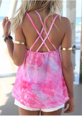 Tie Dye V-Neck Backless Camisole without Necklace Tie