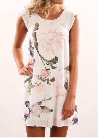 Floral Layered Cap Sleeve Mini Dress