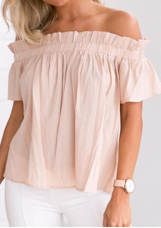 Solid Ruffled Slash Neck Blouse