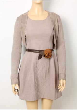 PETITE Solid Sleeveless Mini Dress and Cardigan Set without Belt