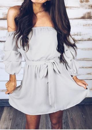 Detachable Sleeves Mini Dress with Tie