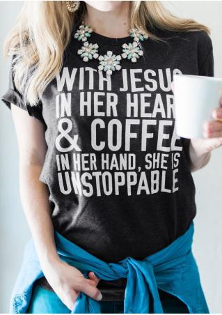 With Jesus In Her Heart & Coffee T-Shirt without Necklace