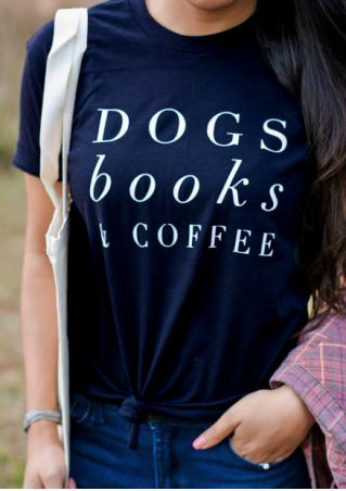 Dogs Books & Coffee T-Shirt