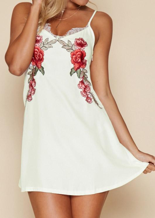Rochie scurtă, fashion, slim fit, cu inserții din dantelă și broderie florală, fără mâneci
