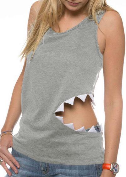 Tricou de damă, fashion, slim fit, fără mâneci, cu decupaje