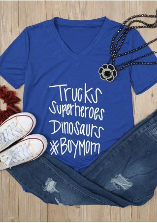 Trucks Superheroes Dinosaurs Boy Mom T-Shirt