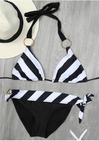 Striped Circle Halter Bikini Set