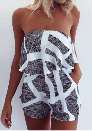 Striped Strapless Sexy Romper