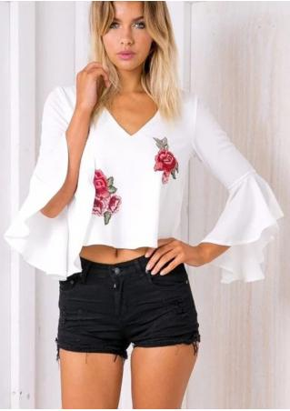 Floral Embroidery Flare Sleeve Hollow Out Blouse