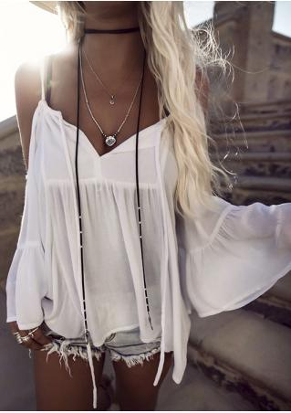 Solid Cold Shoulder Cover Up without Necklace