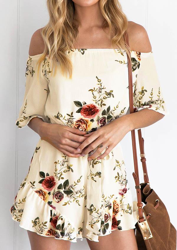 Floral Off Shoulder Romper 28047
