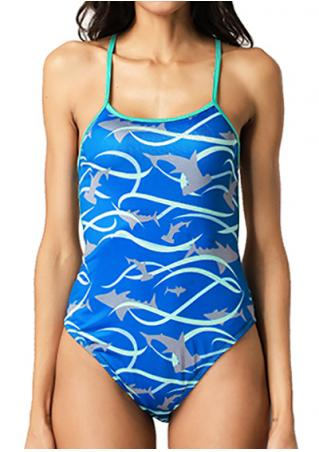 Dolphin Printed Cross Swimsuit