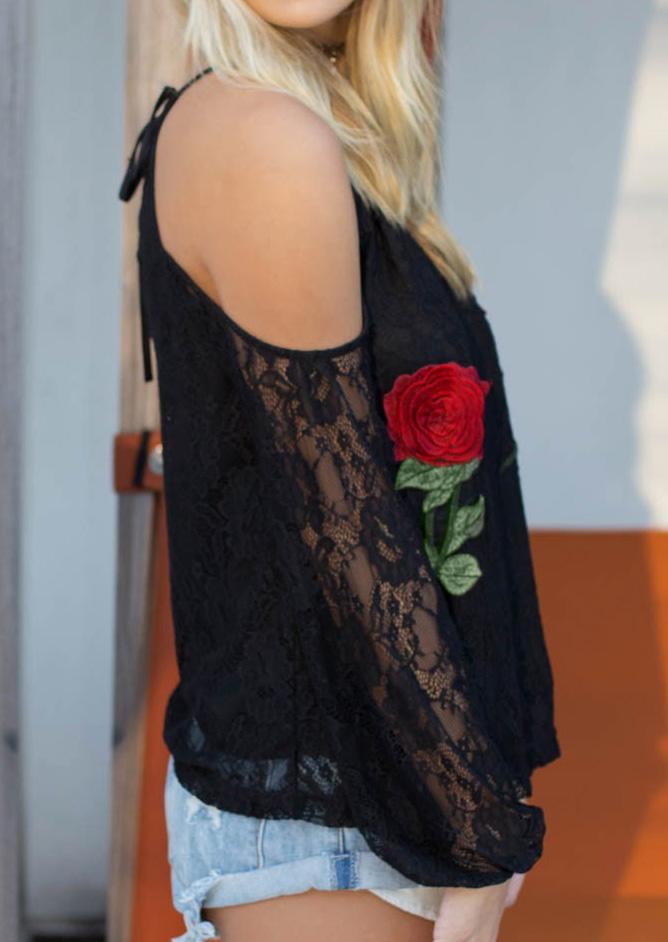dbb2f3d1e2863 Lace Floral Applique Cold Shoulder Blouse without Necklace - Fairyseason
