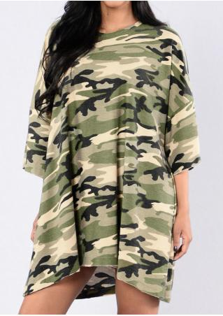 Camouflage Printed Mini Dress Camouflage