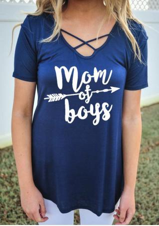 Mom Of Boys Criss-Cross Blouse