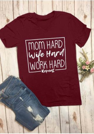 Mom Hard Wife Hard Work Hard Repeat T-Shirt