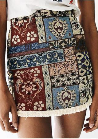Marisa Vintage Ethnic Printed Tassel Slim Skirt